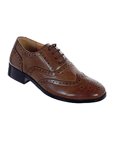 (Tip Top Kids Boys Brown Wingtip Oxford Shoes 9)