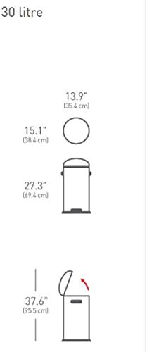 Simplehuman 30 Litre Retro Pedal Bin - Brushed Stainless Steel