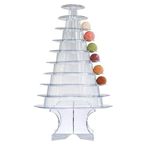 SNOWINSPRING 10 Tiers Macaron Tower Macaroon Display Stand Baby Shower Birthday Party Cake Decorating Supplies Wedding Decoration Transparent