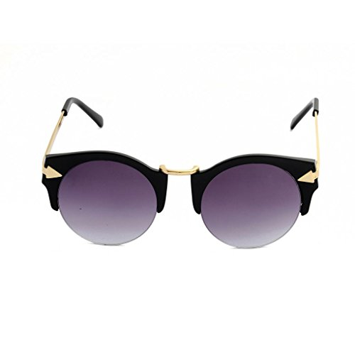 Sumolux Women's New Fashion Retro Vintage Uv400 Lenses Round Arrow Style Riding Sunglasses Matte Black Frame