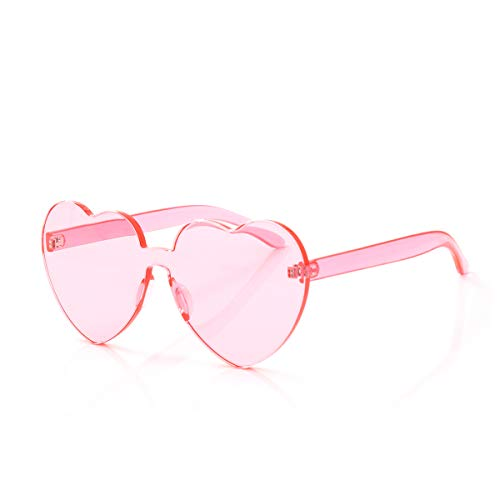Light Pink Heart (OLINOWL Heart Oversized Rimless Sunglasses One Piece Heart Shape Eyewear Colored Sunglasses for)