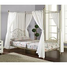 Double Canopy Full Bed With Curtains Pewter