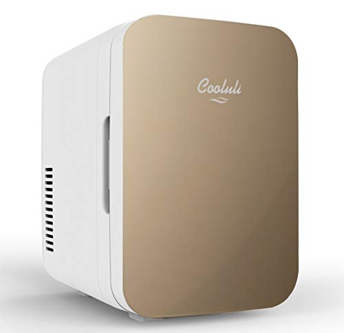 Cooluli Infinity 10-liter Compact Beverage & Beer Cooler/Warmer Mini-Fridge Suitable for Road Trips, Homes, Offices, and Dorms (Gold)