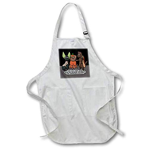 3dRose Sandy Mertens Halloween Designs - Dog Costume Cartoon, Funny Quote with Pumpkin Outfit, 3drsmm - Medium Length Apron with Pouch Pockets 22w x 24l (apr_290229_2) ()