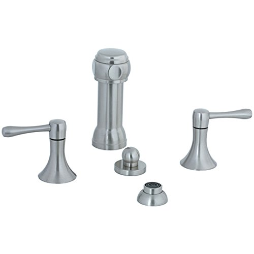 (Cifial 244.125.620 Brookhaven Bidet Faucet with Rosette Spray and Barrel Lever Handles, Satin Nickel)