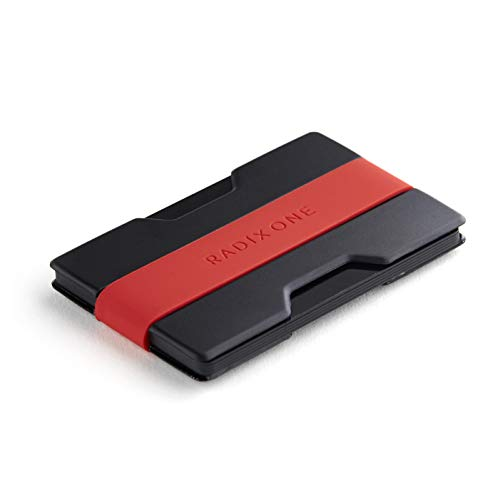 Radix One Slim Wallet (Black/Red) - Minimalist Front Pocket Ultralight Thin Polycarbonate Wallet Money Clip ()