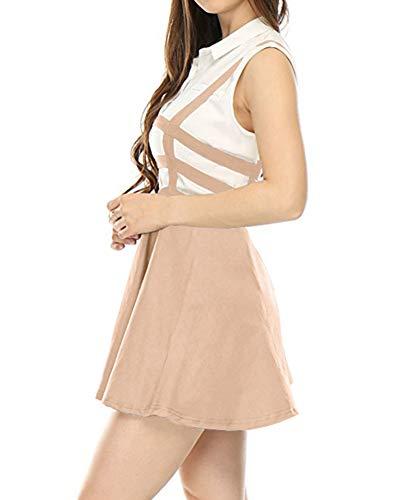 Bretelles Plisse Patineuse avec Courte Femmes Rose Mini Jupe Jupes LaoZanA qTfXFF