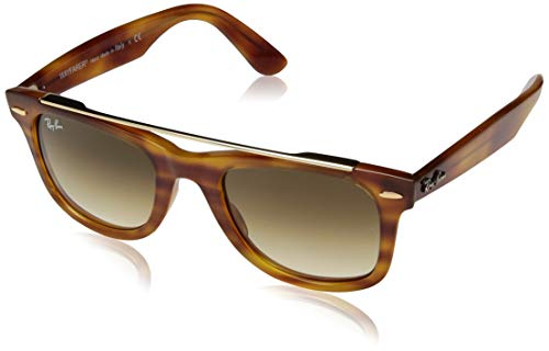 Ray-Ban RB4540 Wayfarer Double Bridge Sunglasses, Striped Light Brown/Brown Gradient, 50 mm