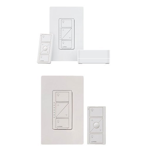 LUTRON Alexa Compatible Caseta Wireless Dimmer Kit + Caseta Wireless Multi-Location In-Wall Dimmer with Pico Remote Control Kit