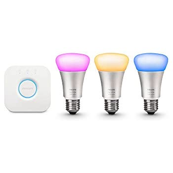 Philips Hue White and Color Ambiance Smart Bulb Starter Kit (3 A19 Bulbs and 1 Bridge, Compatible with Amazon Alexa, Apple HomeKit and Google Assistant)