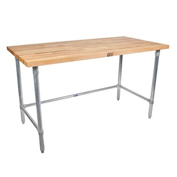 Maple Top Open Base Tables - John Boos Thick Maple Top Work Table on Adjustable Galvanized Base, 60 x 24 Inch