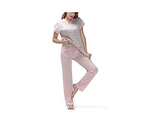 Pajamas Cotton Sleepwear V Neck Patchwork Top&Lace-up Long Pants Casual Print Nightwear,Pink,M