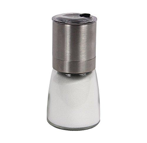 Salt/Pepper & Spice Burr Grinder   Open & Close Shaker Lid   Modern Stainless Steel Design   Easy Fill Top