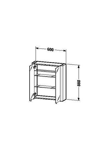 Duravit SPS 'Licht & Spiegel' 186x600x660mm 2 Spiegeltüren,2 Relinge,weiss aluminium, LM977003737