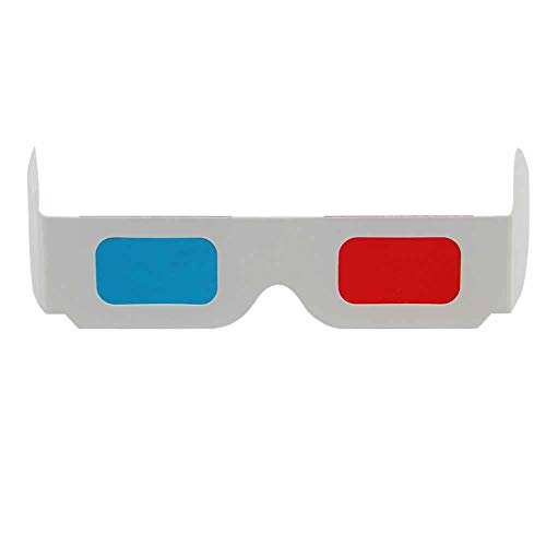 50 Pairs - FLAT- 3D Glasses Red and Cyan WHITE Frame Anaglyph Cardboard (Set of 50)