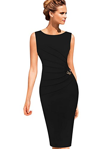 (VFSHOW Womens Black Elegant Ruched Work Business Office Cocktail Party Sheath 2812 BLK S)