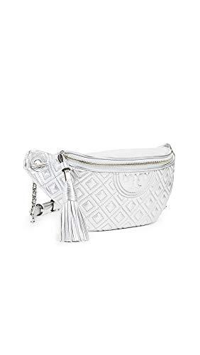 Tory Burch Women's Fleming Metallic Belt Bag, Silver, One ()