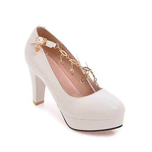 Heel Block Round Shallow Heels Mouth White Shoes Head Women's gqOF5npg