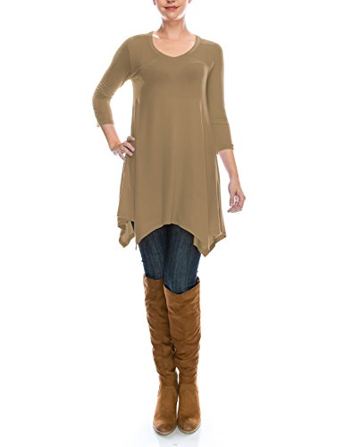 ALL FOR YOU Women's 3/4 Sleeve Swing Loose Fit Comfy Flattering Tunic Tops Mocha Large