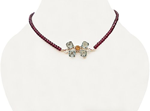 Blue Topaz & Citrine Silver pendant with Pink Garnet Beads Choker Neckalce with 925 Silver Findings 14