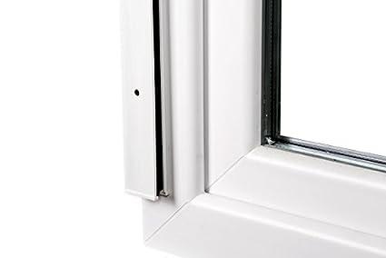 mosquitera para ventanas con marco de PVC en color blanco 130 x 160 cm JAROLIFT 2 en 1 Mosquitera enrollable Volaris