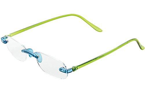ICU Eyewear Rimless Lightweight Travel Readers with Gel Temples Blue/Green 2.75w