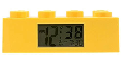 1 Analog Lcd Display (LEGO Yellow Brick Kids Light Up Alarm Clock | yelow | plastic | 2.75 inches tall | LCD display | boy girl | official)