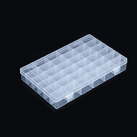 Davi Atelier Caja organizadora de plástico con separadores 36 compartimentos organizador para almacenamiento de cuentas, aparejos de pesca, joyas, tornillos: Amazon.es: Hogar