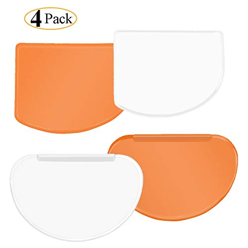 Thrille9 Dough Bowl Scraper Kit Multipurpose Curved Flat Edge Flexible Dough Scrapers Spatula Home Kitchen Food Grade PE Backing Bread Cake for Cooking Soft Mixing Bowl Scraper White Orange Pack of 4