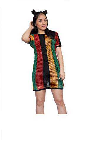 (Clossy Ladies Rasta Short Sleeves Stripe Cotton String Vest Mesh Fishnet Top Reggae (Large/X-Large) Red, Black)