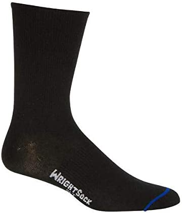 X-Large WrightSock Mens Two-Pair Ultra Thin Crew Black