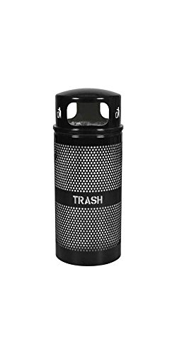 Ex-Cell Kaiser WR-34R DM BLACK Landscape Series Perforated Trash Receptacle with Domed Lid, 34 Gallon Capacity, 18