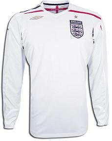 England 07/08 LS Home Soccer Jersey (England Home Long Sleeve Jersey)