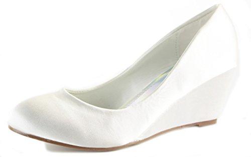 Classic shoeFashionista Pumps Wedges Wedge Shoes Branded Ladies Platform Heel Size White High Smart Off Satin Court PBw0ppxFq