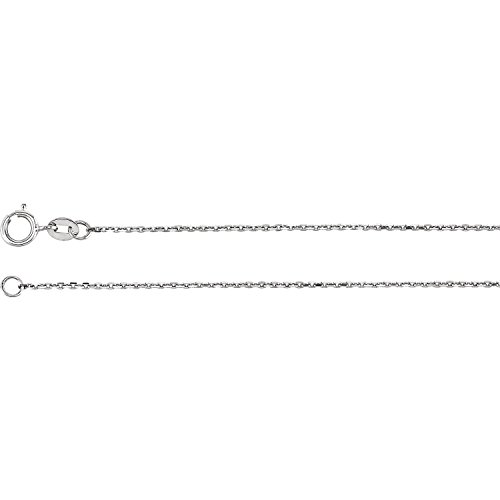 C.Hersh Platinum Solid Diamond Cut Polished Cable Chain Necklace - (16-inch Length, 0.04-inch Width) for Men and Women