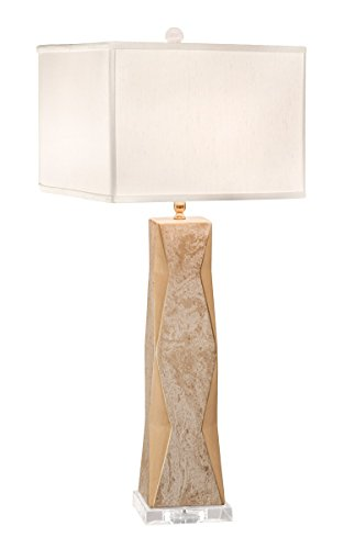 Thumprints 1218-ASL-2143 Geo Gold Lacquer Marbled Off White Square Shade Table Lamp, White Overglaze Finish