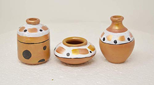 entic Red Pottery Miniature Decorative Flower Vase (4 X 3 X 3 in) - Set of 3 - Animal Print & Golden Stripes ()