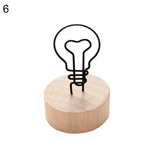 Gftablks Picture Clip with Wooden Base Decor for Memo Card, Photo Frame, Message - Bulb#