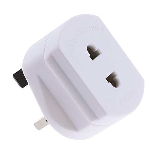 Freebily 1A Fused Plug Adapter US to UK Outlet Wall Power Converter 2 Pin to 3 Pin for Shaver Electric Toothbrush - Outlet Pin