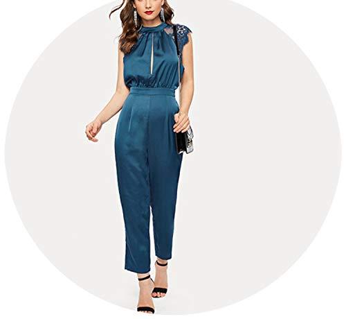 Blue Lace ERT Slit Pleated Mock-Neck Satin Jumpsuit 2019 Women High Waist Long Trouser Cap,Blue,L - Caress Neck Satin