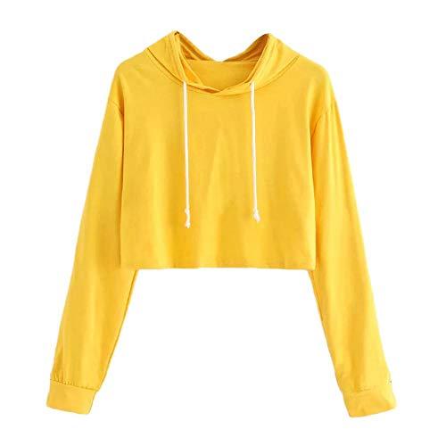 HGWXX7 Women's Hoodie Solid Long Sleeve Hooded Pullover Crop Tops Blouse Sweatshirt(S,Yellow)