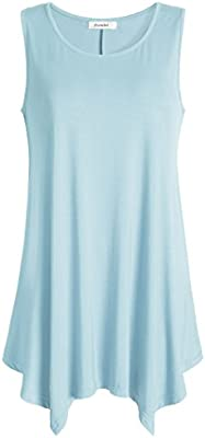 Esenchel Womens Flowing Tunic Tank Top Sleeveless Loose Shirt