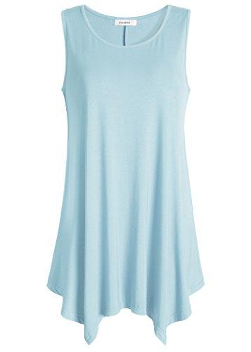 Esenchel Women's Flowing Tunic Tank Top Sleeveless Loose Shirt XL Sky Blue