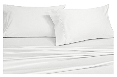 King Split Top - Solid White Top-Split-King: Adjustable King Bed Size Sheets, 4PC Bed Sheet Set, 100% Cotton, 300 Thread Count, Sateen Solid, Deep Pocket, by Royal Hotel