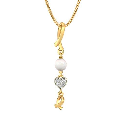 14K Or jaune 0.05CT TW Round-cut-diamond (IJ   SI) et blanc perle Pendentif