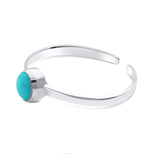 KEZEF Creations High Polished Sterling Silver Reconsitituted Turquoise Round Cabachon Toe Ring ()