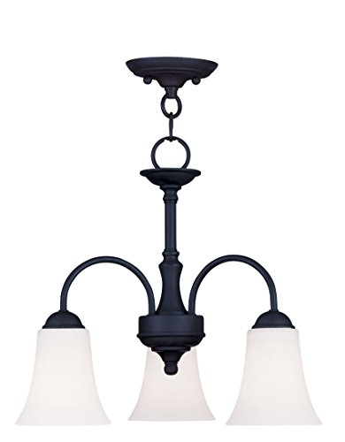 Livex Lighting 6464-04 Ridgedale 3-Light Convertible Hanging Lantern/Ceiling Mount, Black (Breakfast Lighting Nook)