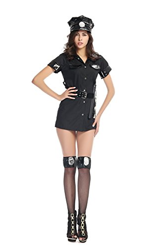 Bulacker Cop Costumes Black Long Shirt Button-Type Cosplay Clothes,Black,One size (Clever Halloween Costume Ideas Couples)
