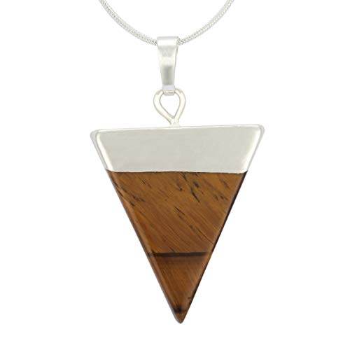 Natural Tiger Eye Necklace Healing Crystal Reiki Chakra Triangle Cut 18-20 Inch Gemstone Pendant Necklace (1pc) Great Gift #GGP-A8 ()