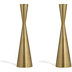 LampLust 2 Brass Finished Taper Candle Holders, 9 Inches, Metal, Hourglass Shape, Fits Standard Candlestick Diameters